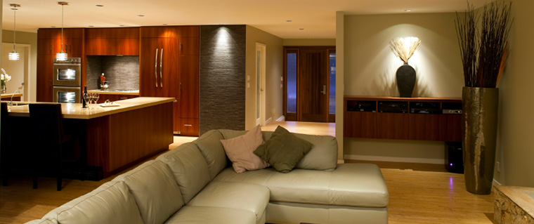 Modern basement living area